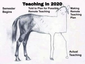 Teaching Meme Drawing of a horse from professional to a child's drawing as progression of instruction in 2020