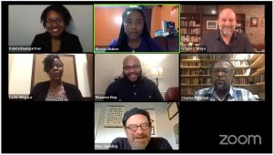Zoom grid with Faculty in Conversation about Black Lives Matter Protests.