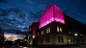 Building with pink light from inside