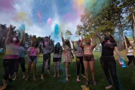 Holi Celebration, students with vibrant colors